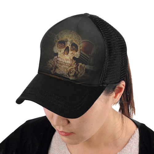 Steampunk Alchemist Mage Roses Celtic Skull halfto Trucker Cap E (Front  Panel Customization) 53f6eaa55a0f
