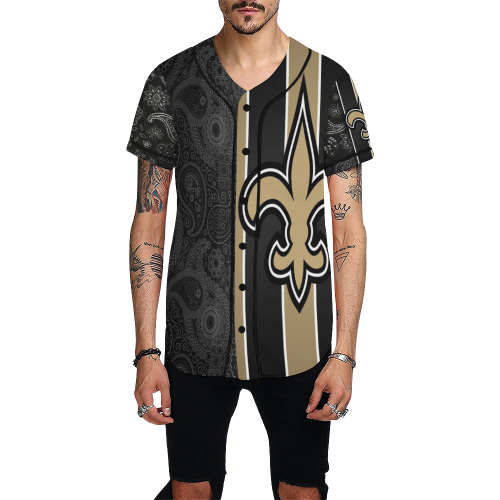 new concept 1266d 14c28 Black And Gold Who Dat Jersey All Over Print Baseball Jersey for Men (Model  T50)