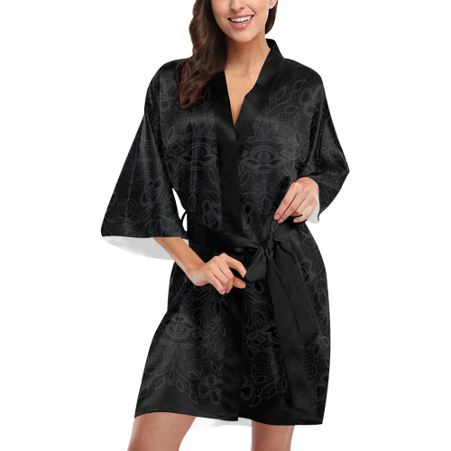 Black Crocheted Lace Mandala Pattern Kimono Robe