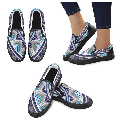 Sacred Places Blue Men's Slip-on Canvas Shoes (Model 019)