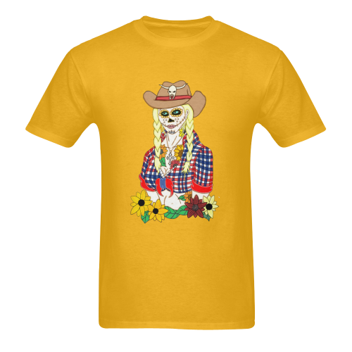 Cowgirl Sugar Skull Gold Men's Heavy Cotton T-Shirt - 5000 (Plus-size)