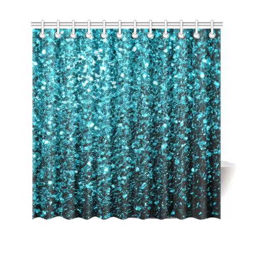 Beautiful Aqua Blue Glitter Sparkles Shower Curtain 69x70
