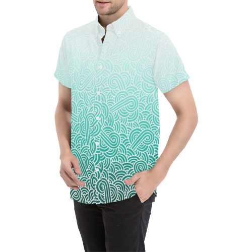 Ombré teal blue and white swirls doodles Men's All Over Print Short Sleeve Shirt (Model T53)