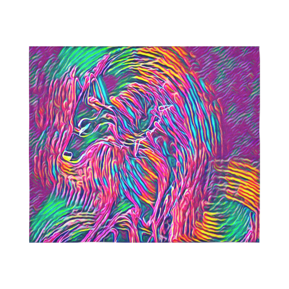Cosmic Wolf Rainbow Black Light Rave Cotton Linen Wall Tapestry 60 X 51 Id D3479310