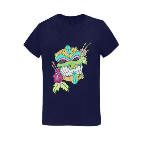 Tropical Tiki Mask Navy Blue Women's Heavy Cotton Short Sleeve T-Shirt - 5000L
