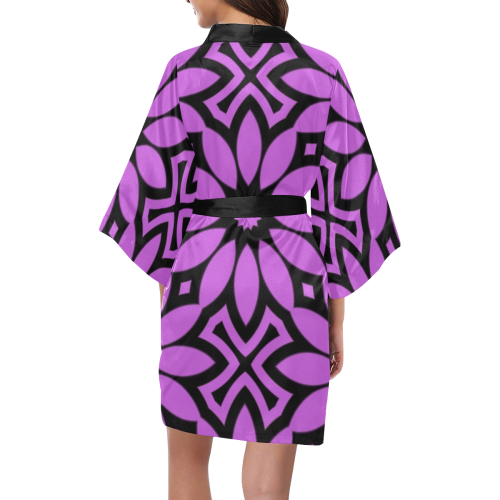 Purple/Black Flowery Pattern Kimono Robe