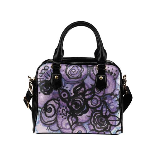 Graffiti Roses in Violet Shoulder Handbag (Model 1634)