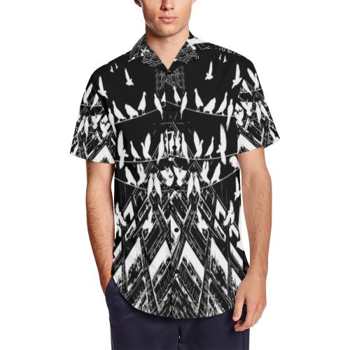 36d0ea8bf4 B W Gothic Birds Satin Dress Shirt Men s Short Sleeve Shirt with Lapel  Collar (Model T54)