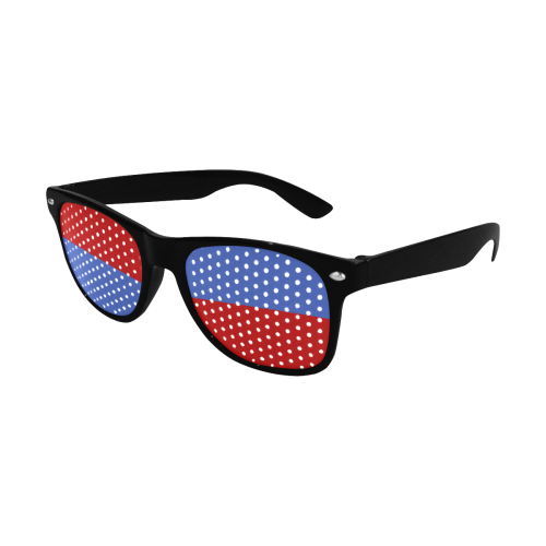 Only two Colors: Blue - Red Custom Sunglasses (Perforated Lenses)