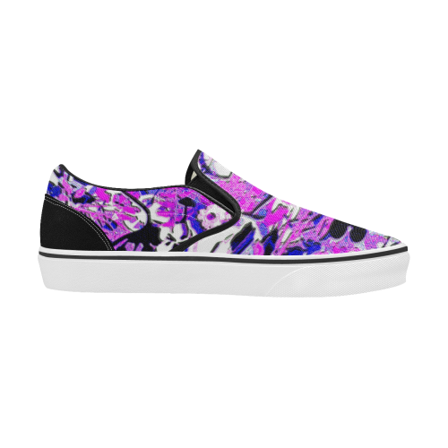 floral abstract in blue Men's Classic Slip-On Sneakers (Model E001-3)