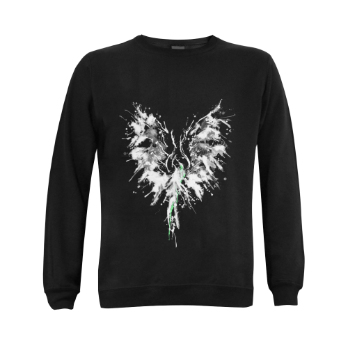 Phoenix - Abstract Painting Bird White 1 Gildan Crewneck Sweatshirt(NEW) (Model H01)