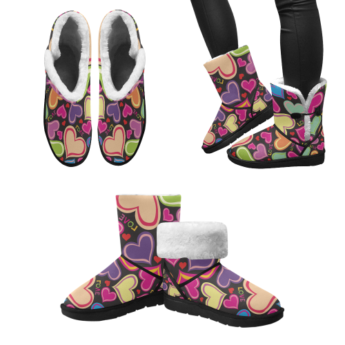 Design cute love Boots with pink, black Unisex Single Button Snow Boots (Model 051)