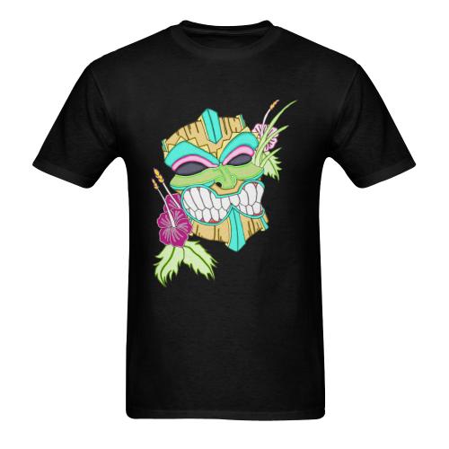 Tropical Tiki Mask Black Men's Heavy Cotton T-Shirt (One Side Printing)