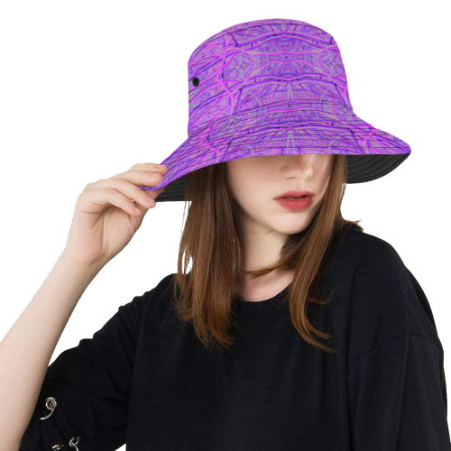 dc4053292afda Hot Pink and Purple Abstract Branch Pattern All Over Print Bucket Hat