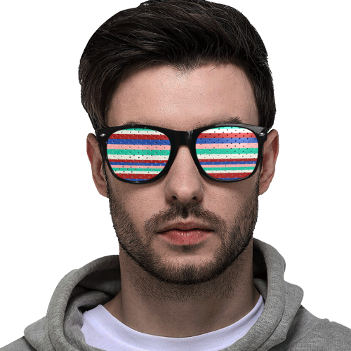 Colored Stripes - Dark Red Blue Rose Teal Cream Custom Sunglasses (Perforated Lenses)