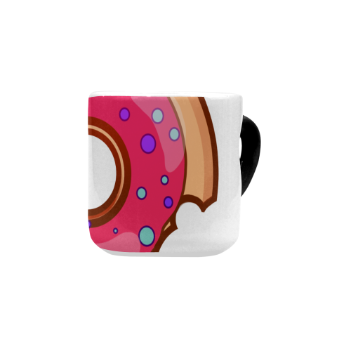 Funny Yummy Donut With A Bite Heart-shaped Morphing Mug