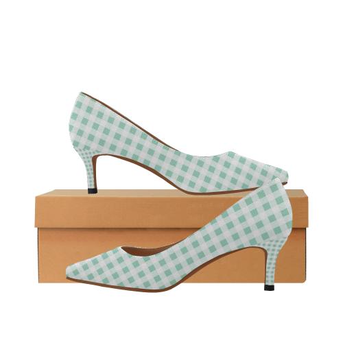 e1ffa69efb1 Mint Green Gingham Women's Pointed Toe Low Heel Pumps (Model 053)