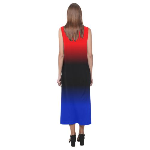 Red, Black and Blue Gradient Phaedra Sleeveless Open Fork Long Dress (Model D08)