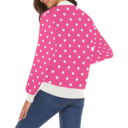 8cbf4d0d2da70 ... Hot Pink White Dots All Over Print Bomber Jacket for Women (Model H19)
