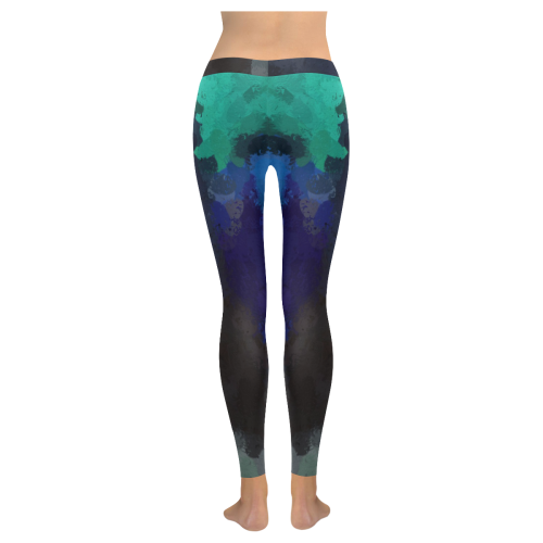 Peacock Abstract Art 4938 Low Rise Leggings (Invisible Stitch) (Model L05)