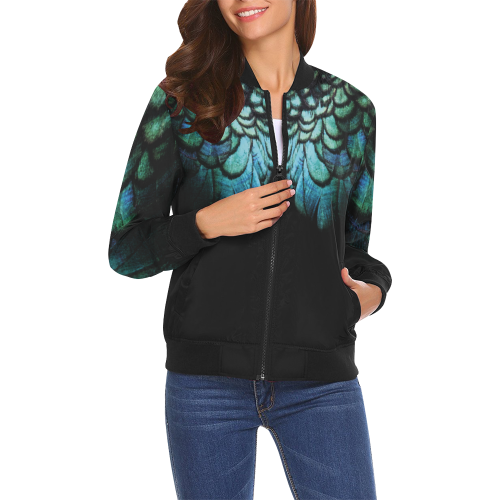 blue feathered peacock wings animalprint design by cglightningART All Over Print Bomber Jacket for Women (Model H19)