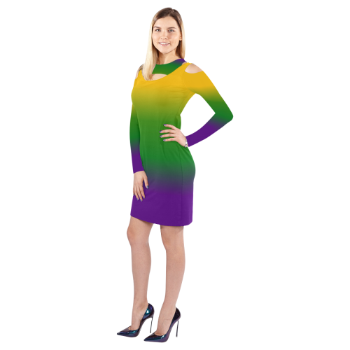 Mardi Gras Gradient 3597 Cold Shoulder Long Sleeve Dress (Model D37)