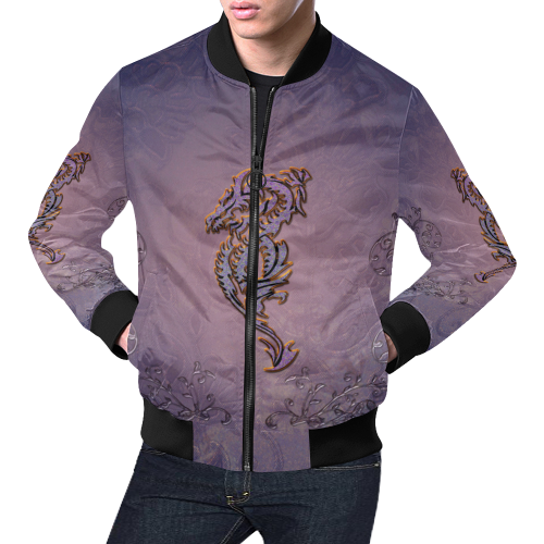 9e634e52c Awesome chinese dragon All Over Print Bomber Jacket for Men/Large Size  (Model H19)