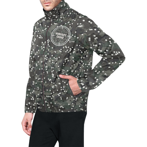 funny airsoft and paintball gamer woodland camouflage design parody All Over Print Windbreaker for Men (Model H23)