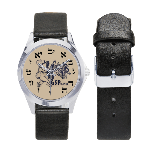 projet bar mitzva 4 Unisex Silver-Tone Round Leather Watch (Model 216)