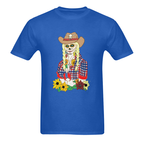 Cowgirl Sugar Skull Royal Men's Heavy Cotton T-Shirt (One Side Printing)
