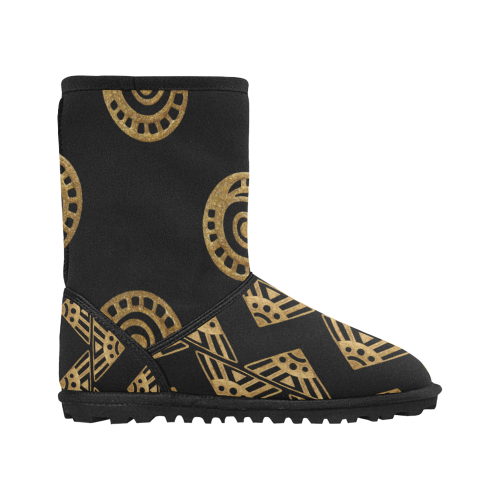 Design shoes - gold black elements Custom High Top Kid's Snow Boots (Model 050)