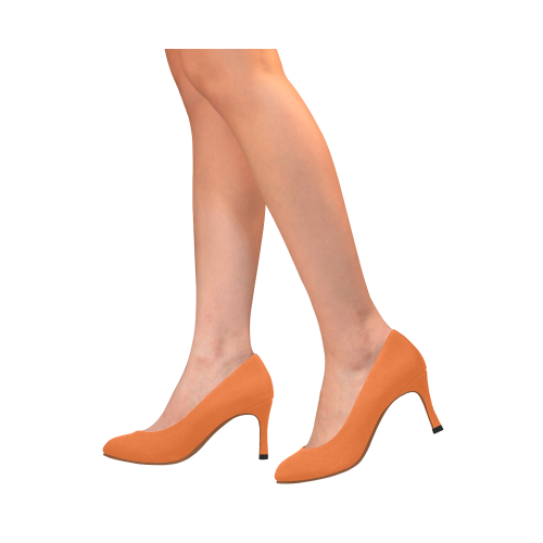 Basic Orange with brown lining Women's High Heels (Model 048)
