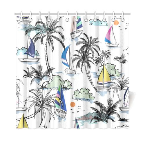 Vintage Sailing Beach Scene Shower Curtain 72x72