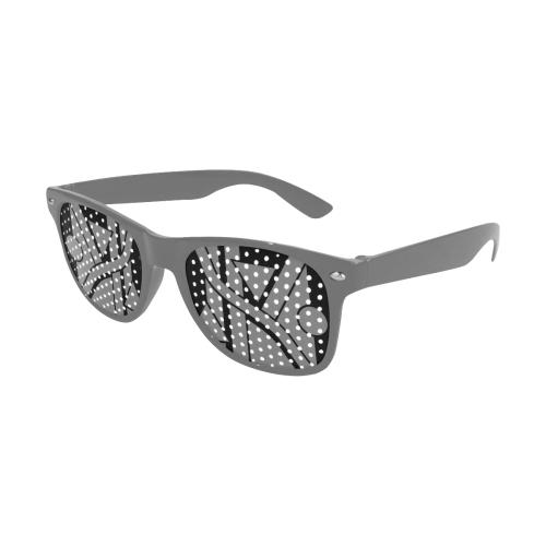 Black Geometric Art Stripes Triangles Dots Cut Custom Sunglasses (Perforated Lenses)