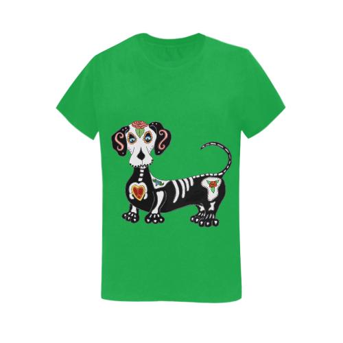 Dachshund Sugar Skull Irish Green Women's Heavy Cotton Short Sleeve T-Shirt - 5000L