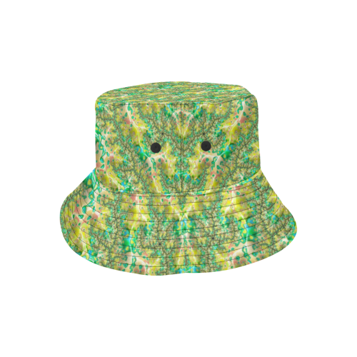 Yellow and Green Fractal All Over Print Bucket Hat