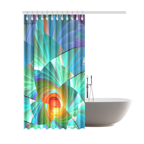 Cracked Mirror Sunrise Shower Curtain