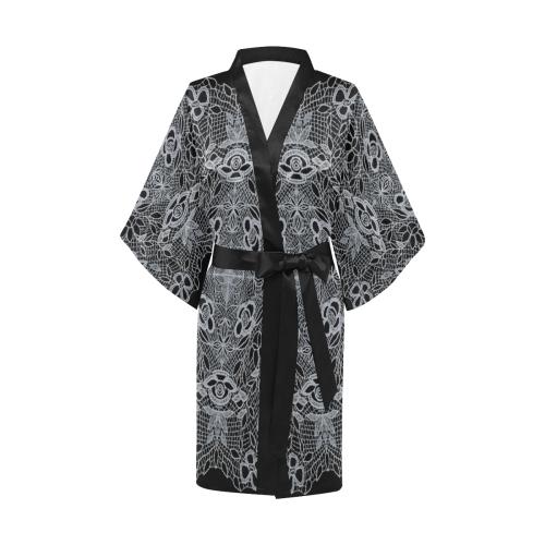 White Crocheted Lace Mandala Pattern Kimono Robe