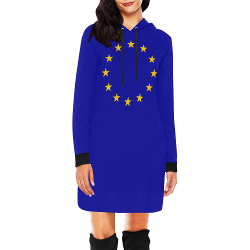 European Union Stars EU Flag All Over Print Hoodie Mini Dress (Model H27)