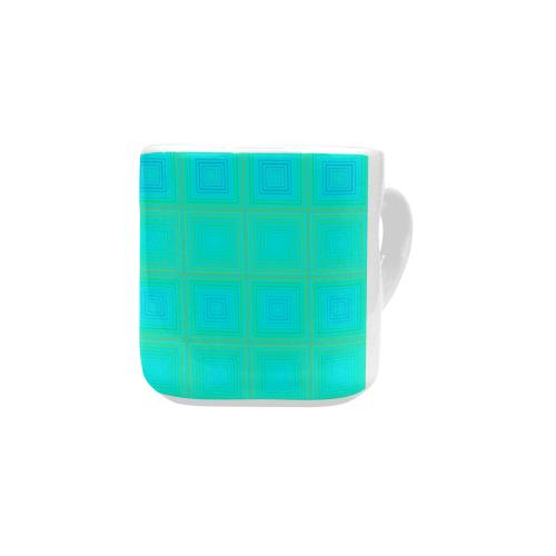 Baby blue yellow multicolored multiple squares Heart-shaped Mug(10.3OZ)