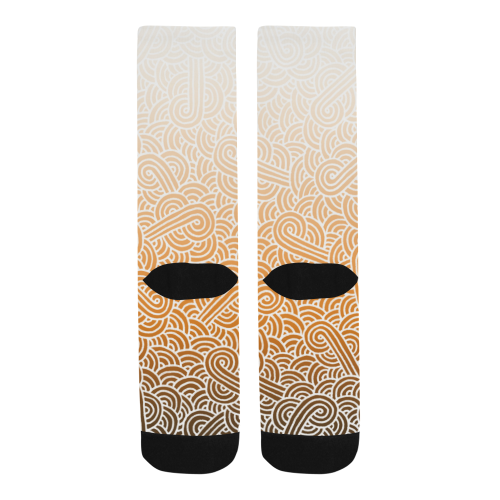 Ombré orange and white swirls doodles Trouser Socks (For Men)