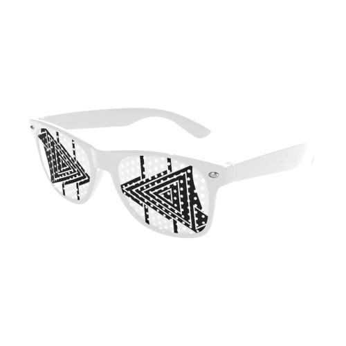 Black Geometric Art Stripes Triangles Custom Sunglasses (Perforated Lenses)