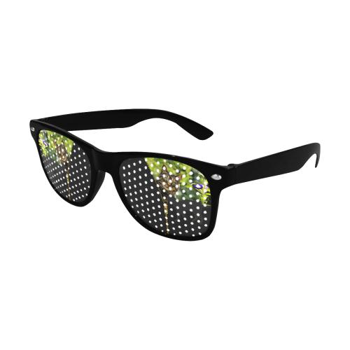 ZIPPER CUTE CAT FLOWERS Custom Sunglasses (Perforated Lenses)