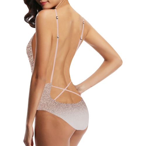 b7eb74802bb ... Rose Gold Glitter Pink Ombre White Sexy Lacing Backless One-Piece  Swimsuit (Model S10 ...