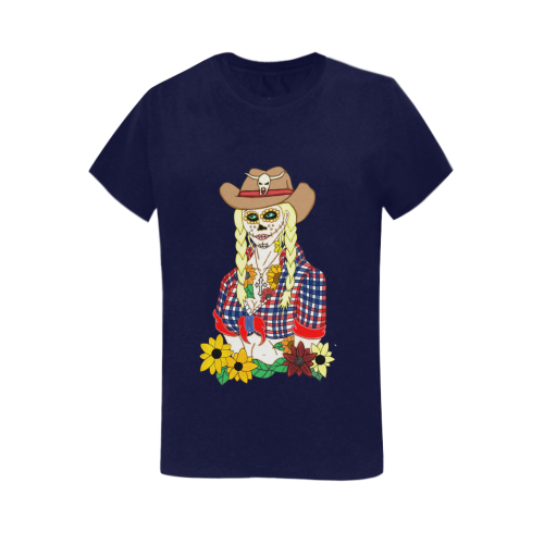 Cowgirl Sugar Skull Navy Blue Women's Heavy Cotton Short Sleeve T-Shirt