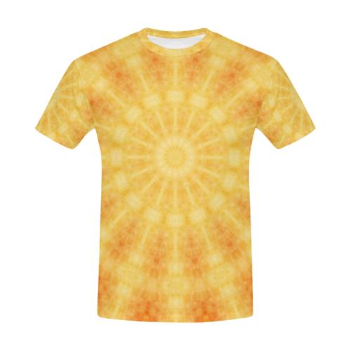 dffd61c6b4b3 Burning Sun Rave Mandala Tie Dye Crew Neck All Over Print T-Shirt for Men  (USA Size) (Model T40)