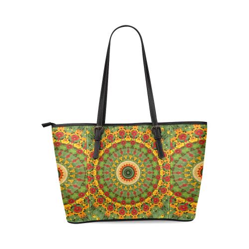 Garden Mandala Leather Tote Bag/Small (Model 1640)