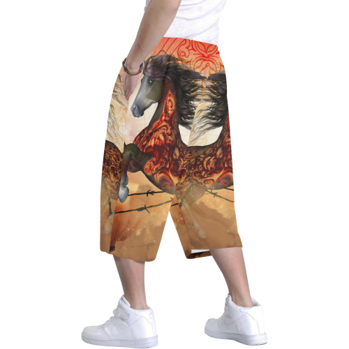 Awesome creepy horse with skulls Men's All Over Print Baggy Shorts (Model L37)