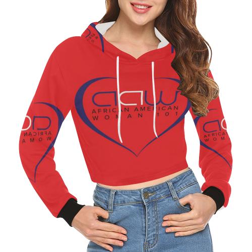 7f68ba2cabd64 AAW101 Red Crop Top Sweater All Over Print Crop Hoodie for Women (Model  H22)