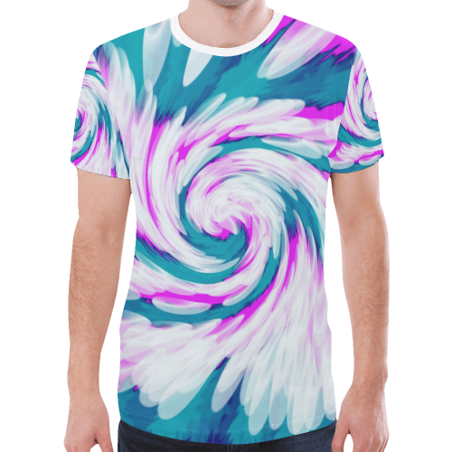e2fae7cb501d Turquoise Pink Tie Dye Swirl Abstract New All Over Print T-shirt for Men  (Model T45)
